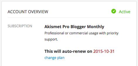 Akismet Account: Change Plans