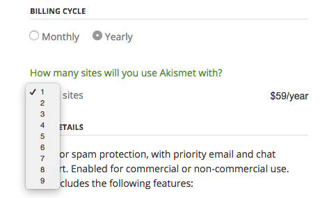 Akismet Upgrade - Select Number of Sites