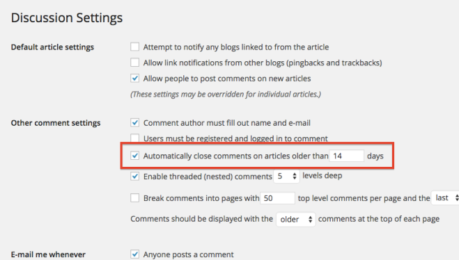 Automatically close comments option