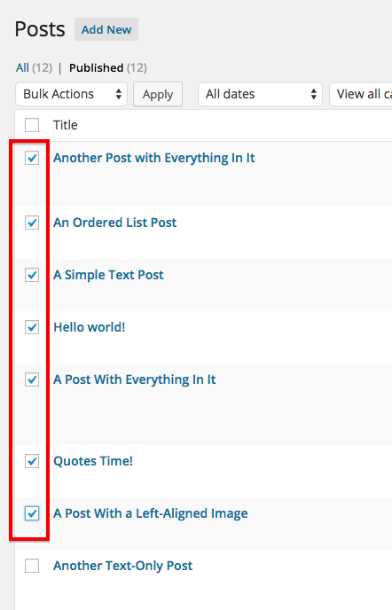 Select posts to edit