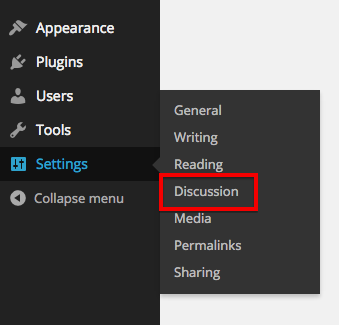 Settings > Discussion page