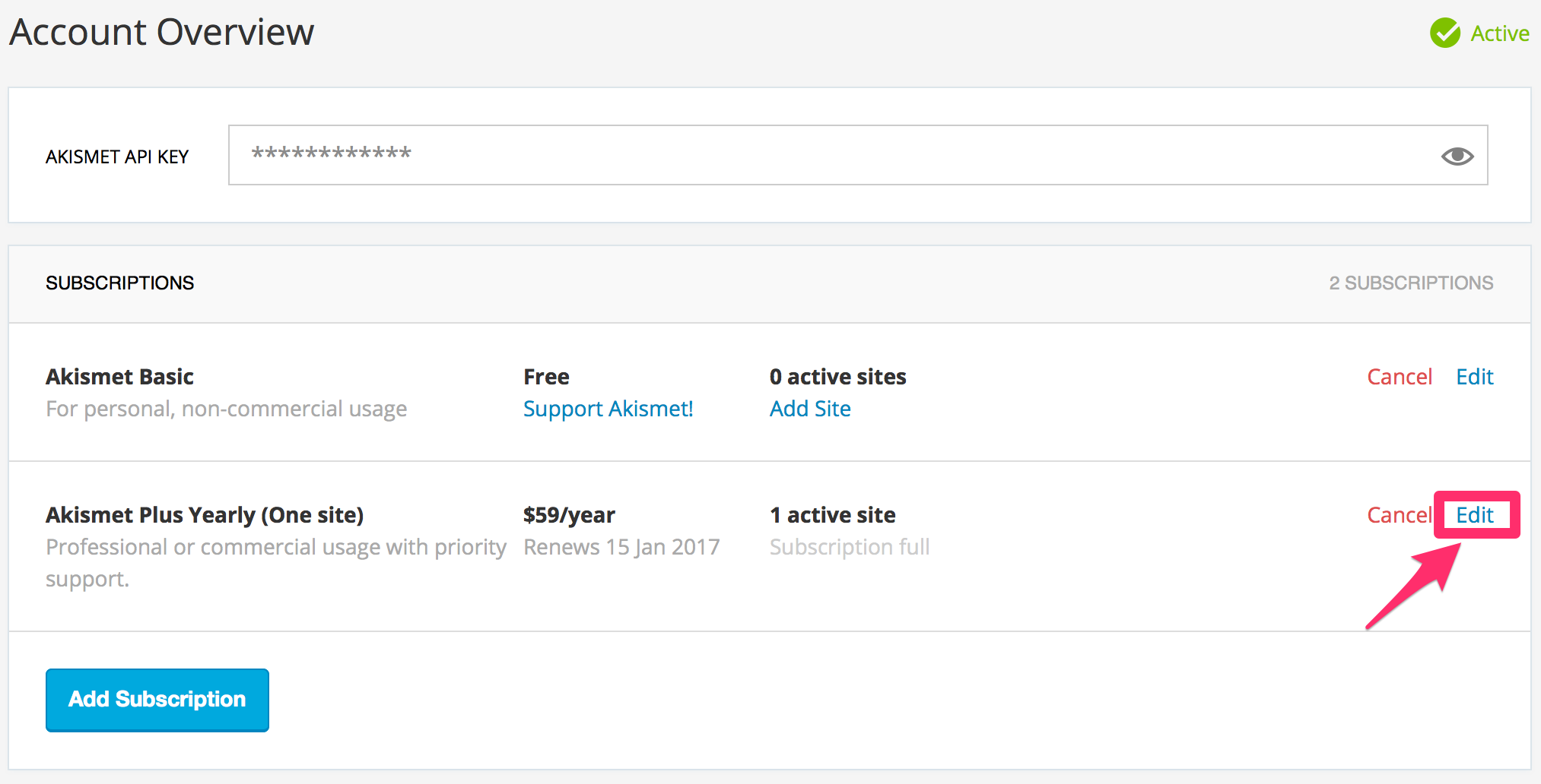Adding Sites to an Existing Plus Subscription | Akismet